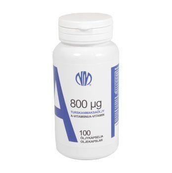 A-vitamiini 800 µg turskanmaksaöljy 100 kapselia