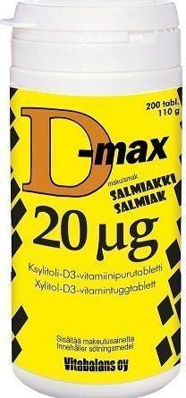 D-max 20 µg 200 purutabl. Salmiakki