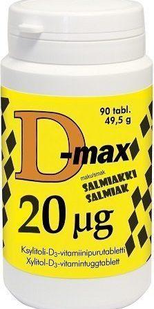 D-max 20 µg 90 purutabl. Salmiakki