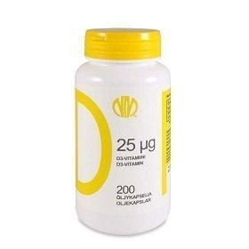 D25 D3-vitamiini 25 µg 200 kapselia