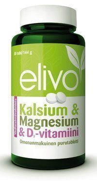 Elivo Kalsium & Magnesium & D3-vitamiini 80 purutablettia