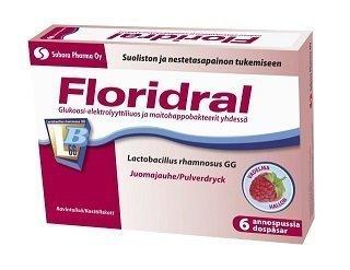 Floridral Ripulijuoma vadelma annosjauhe 6 x 6