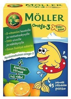 Möller Omega-3 Pikkukalat Appelsiini-Sitruuna 45 kpl