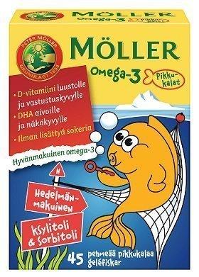 Möller Omega-3 Pikkukalat Hedelmä 45 kpl