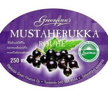 Mustaherukkarouhe LUOMU 250 ml paino 120 g Greenfinns