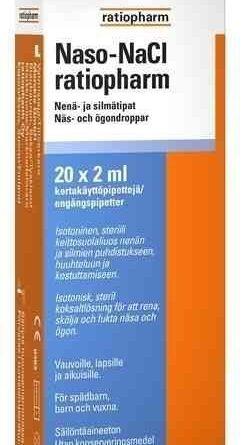 Naso NaCl ratiopharm nenä- ja silmätipat 20 x 2 ml