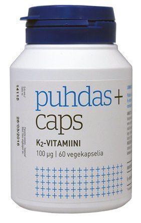 Puhdas+ Caps Luonnollinen K2 Vitamiini 100 ug 60 kaps.