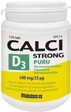 Puru Calci Strong + D3-vitamiini 120 purutabl.