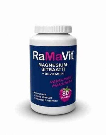 RaMaVit magnesiumsitraatti + B6-vitamiini 80 purutablettia