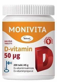 Reformi Monivita D-vitamin 50µg vahva 200 tabl.