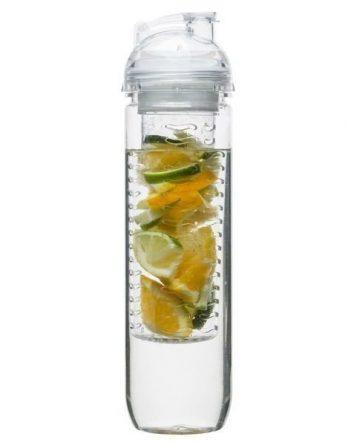 Sagaform Fresh juomapullo hedelmäpatruunalla kirkas