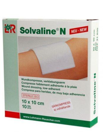 Solvaline N Sårkompress 10cm X 10cm 10 kpl